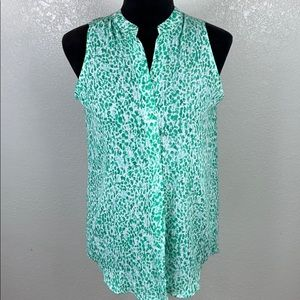[ JONES NY ] Green Cheetah Sleeveless Top